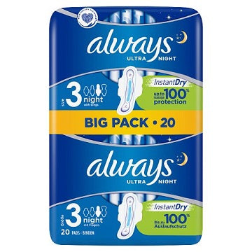 Always Ultra Night Size 3 With Wings 20 Pack