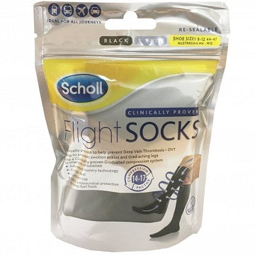 Scholl Black Flight Socks Size 9-12