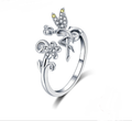 Sterling Silver Fairy & Daisy Flower Ring