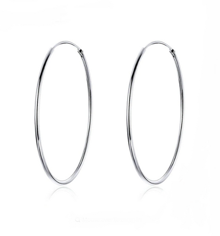 Sterling Silver Hoop Earrings (Large) - TheMinimalistLotus