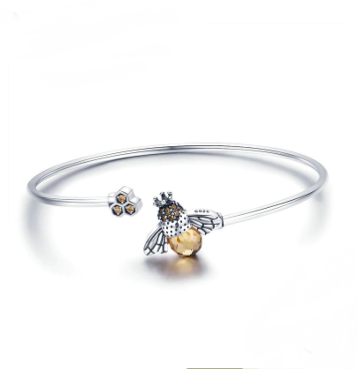Crystal Bee & Honeycomb Sterling Silver Bangle - TheMinimalistLotus