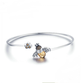 Sterling Silver Crystal Bee And Honeycomb Bangle