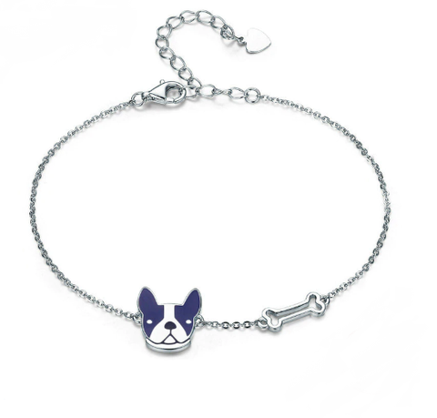 French Bulldog Sterling Silver Bracelet - TheMinimalistLotus