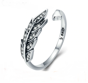 Sterling Silver Feather Wings Adjustable Ring - TheMinimalistLotus