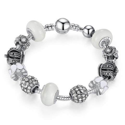 Royal Crown Silver Charm Bracelet & Charms - TheMinimalistLotus