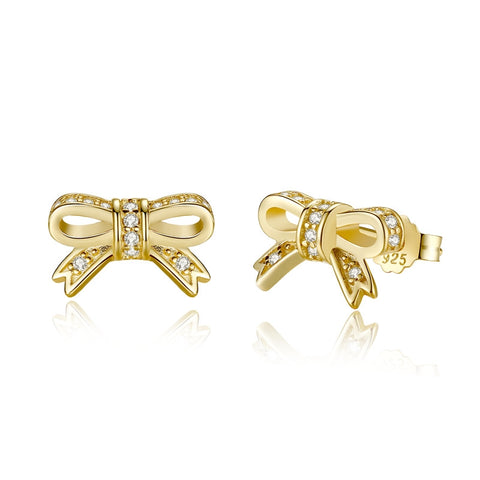 Delicate & Tiny Bow Studs (Sterling Silver/ Gold Plated) - TheMinimalistLotus