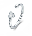Sterling Silver Double Heart Stacking Ring