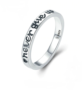 Sterling Silver 'Never Give Up' Engraved Ring - TheMinimalistLotus