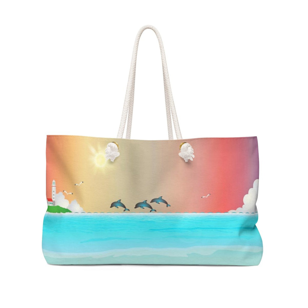 Dolphins and Lighthouse Weekender Bag