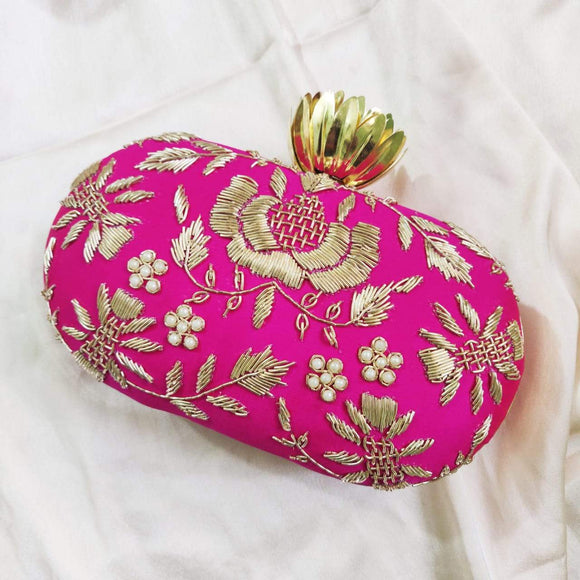 Oval Hand Embroidered Clutch