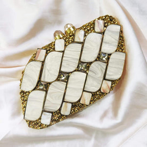 Mother of Pearl clutch made in pure brass