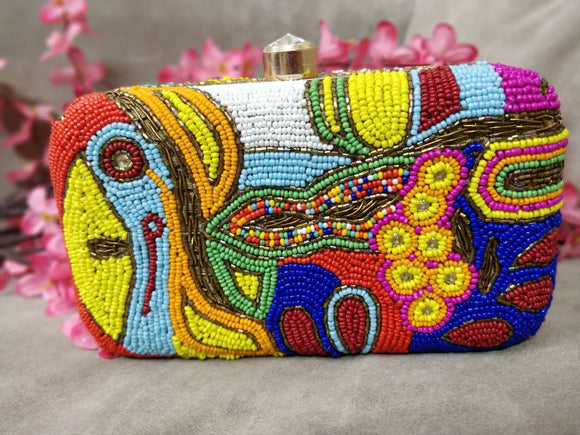 Clutch With Multicolored Beads
