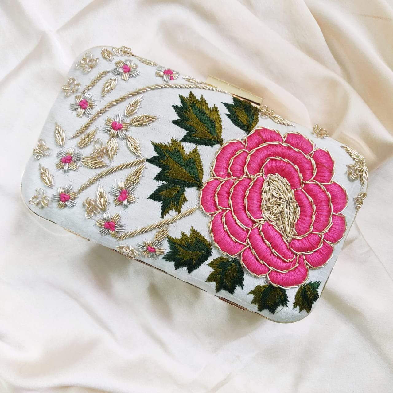Beautiful Flower Hand Embroidery Clutch