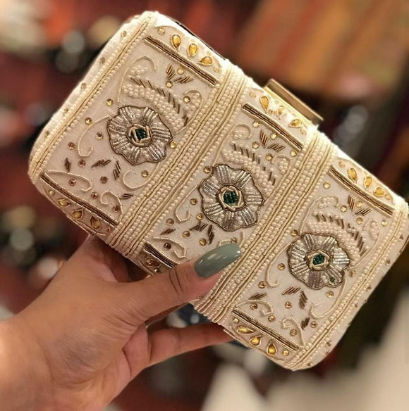 Beautiful Pearl And Beads Work Clutch