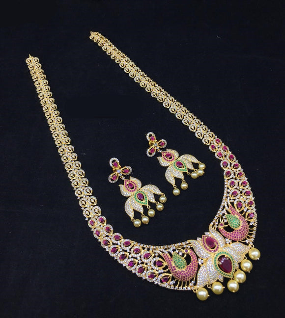 Lotus-Peacock Designed Beautiful Haram Style Diamond Necklace Set