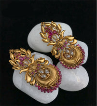 Load image into Gallery viewer, Stunning Earrings With Golden Matte Finish With Multicolored Stone
