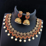 Elegant Traditional Necklace With White Pearl With Earrings