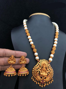 White Beads Temple Jewelry With Gold Matte Finished Comes With Earrings
