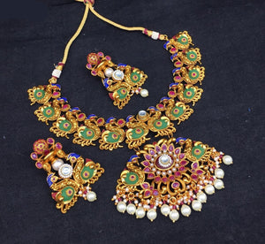 Meenakari Chandbali Necklace