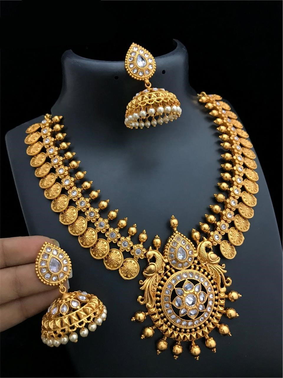 Gold Matte Finish Peacock Chandbali Coin Style Short Necklace