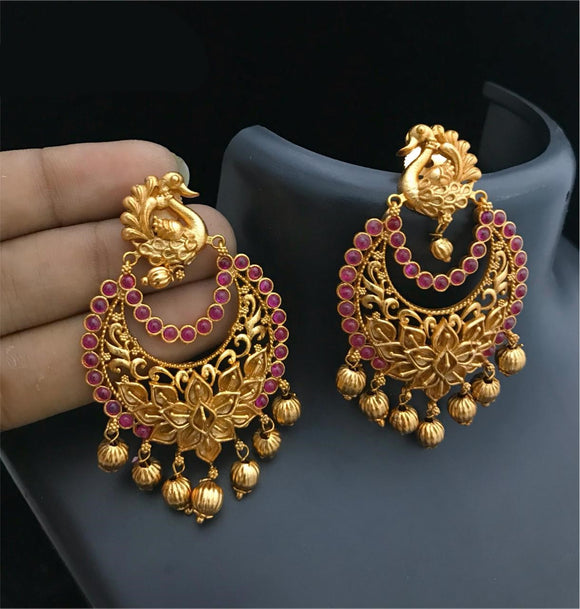 Peacock Chandbali Style Earrings