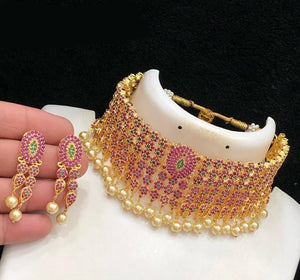 Pink-Green CZ Collar Choker Necklace