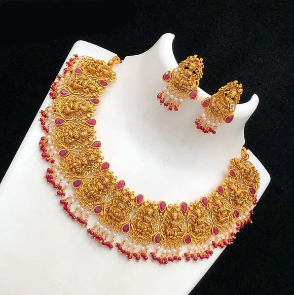 Red  Beads Laxmiji Designed Temple Necklace