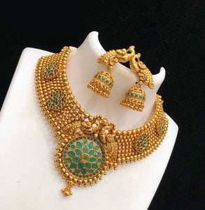 Gold Matte Finished Chandbali Necklace With Elegant Peacock Designed Earrings