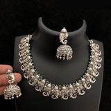 Lord Ganesha Silver Finished Temple Necklace