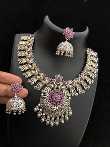 Silver Chandbali Necklace Set With Ghumar Style Jhumkha Earring