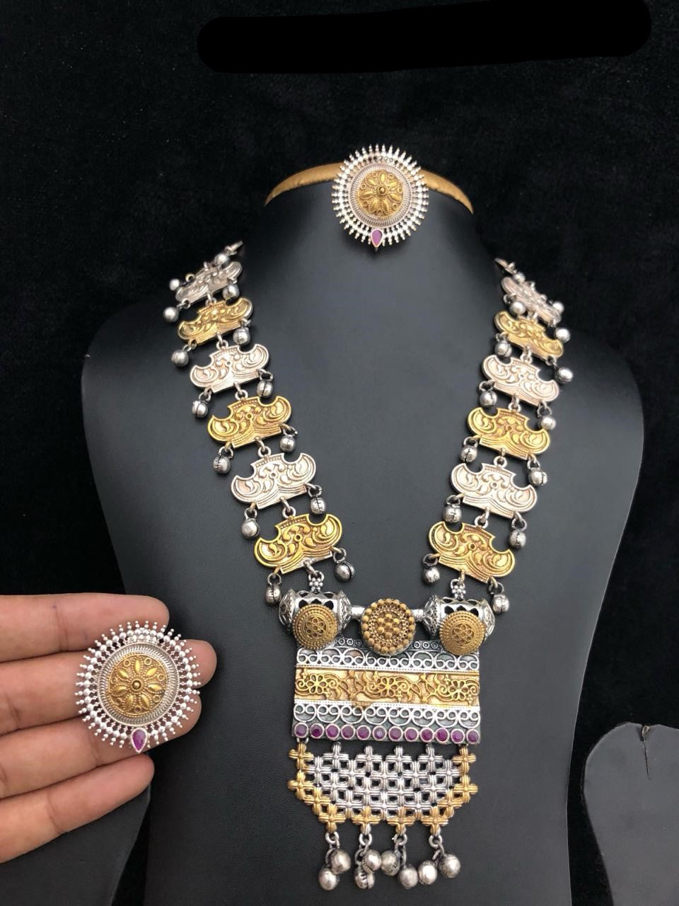 Long Haram Dual Tone Fashion Necklace