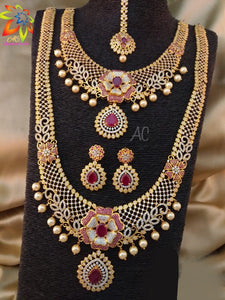 Elegant Bridal Necklace Set With Pink Stone