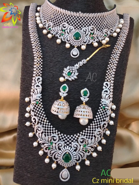 Silver-Green Sparkling Diamond Bridal Necklace Set