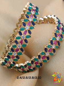 Flower Pattern Multi Color Stone Bangles