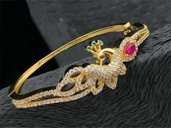 Peacock Designed Open Type  Diamond Bracelet
