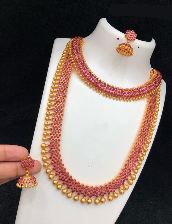 Elegant Long And Short Necklace Set With Earrings
