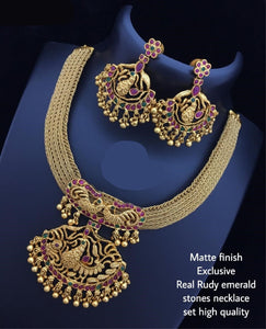 Ruby Stone Chandbali Necklace