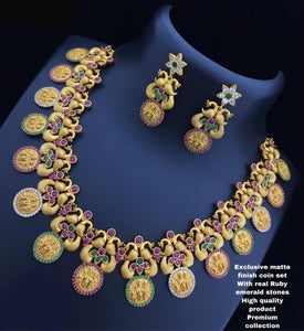 Peacock and Laxmiji Designed Coin Style Necklace
