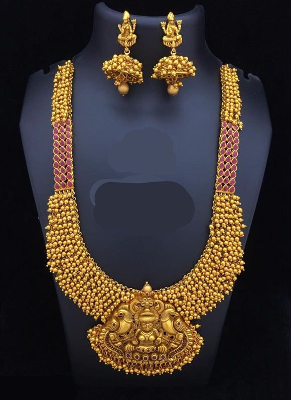 Long Haram Temple Necklace With Golden Beads