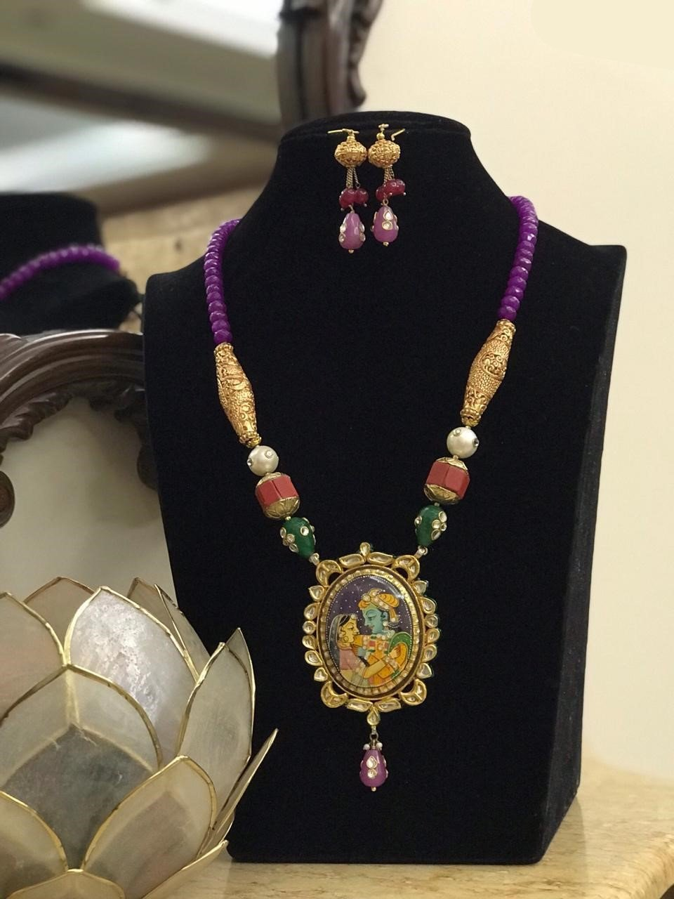Radha Krishna Designed Purple Mala