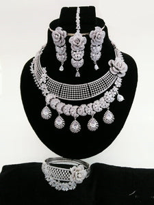 Rose Pattern Silver Bridal CZ Choker Set