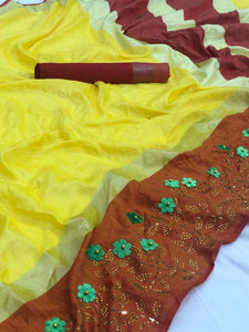 Kolkata Linen Saree With Embossed Flower Work