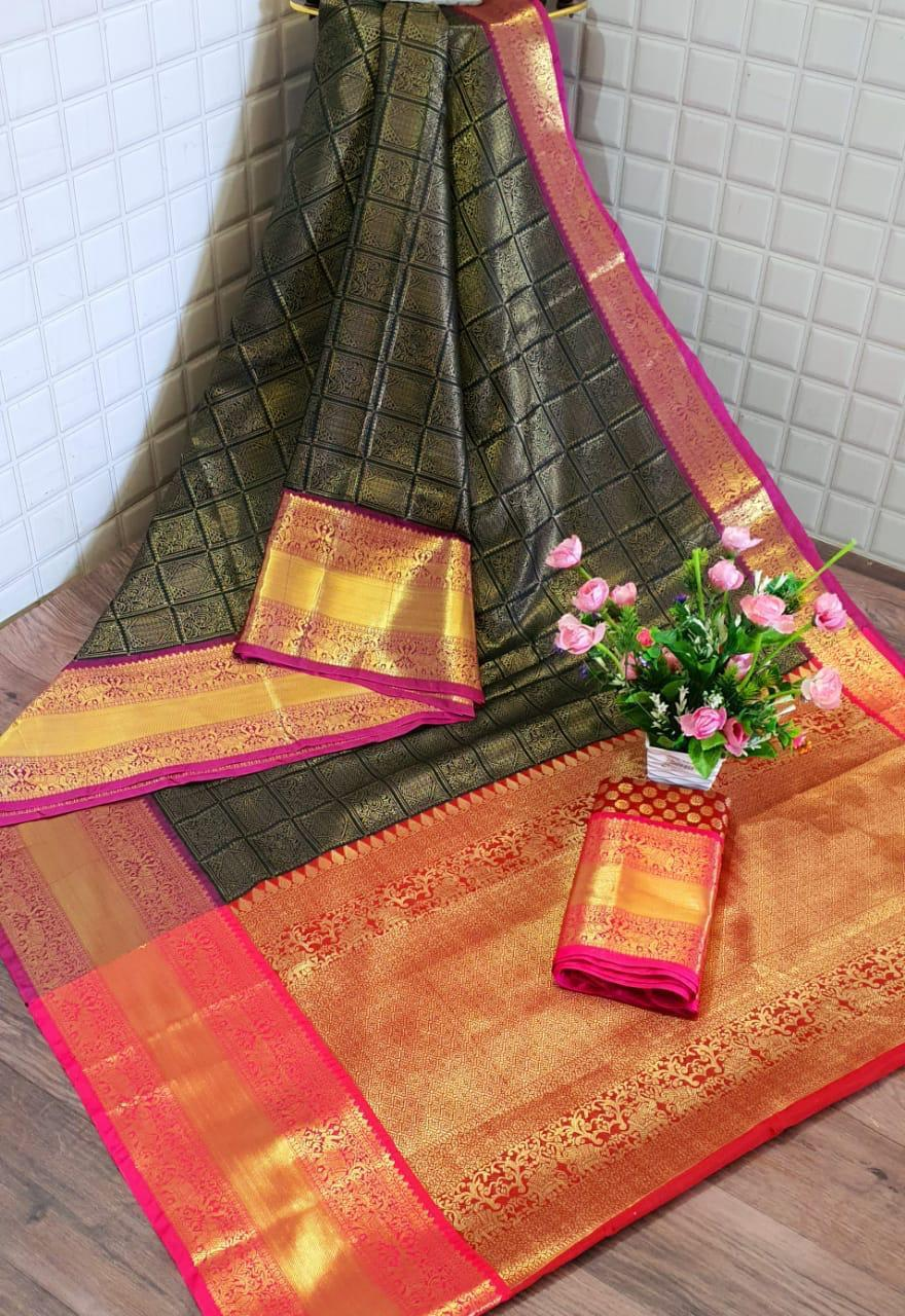 Kanchipuram Handloom Weaving Silk Saree