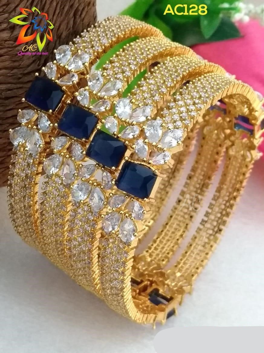 Beautiful Bangle Set With Royal Blue Diamond