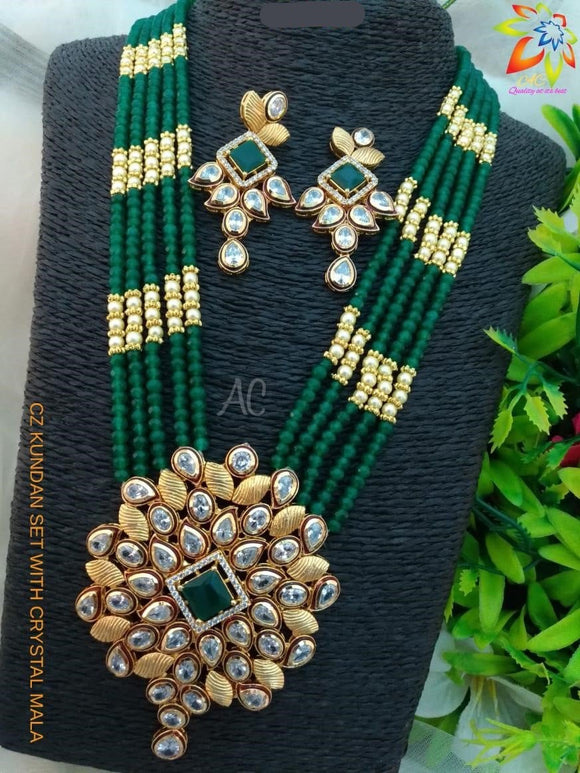 CZ Kundan Set With Crystal Mala
