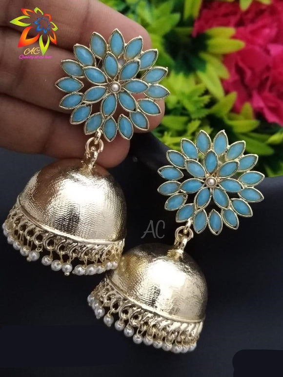Beautiful Jhumkha Earrings With Colorful Kundan