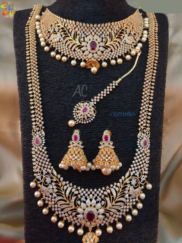 CZ Diamond South Indian Bridal Combo