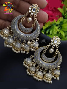 Meena Kundan Dangle Earrings With Five Little Zhumkhi