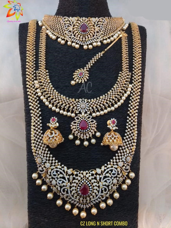 CZ Diamond South Indian Bridal Jewelry Set Combo