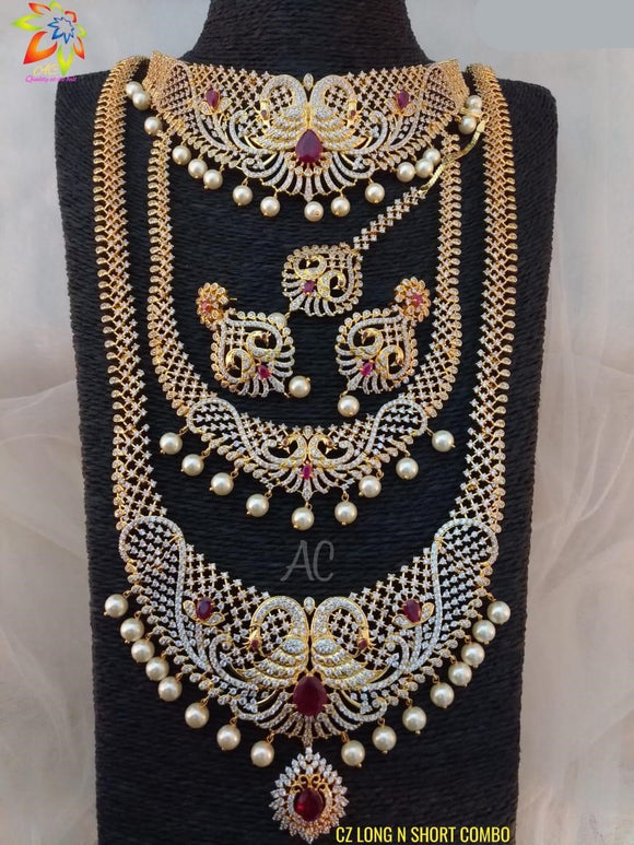 CZ Diamond South Indian Bridal Set Combo